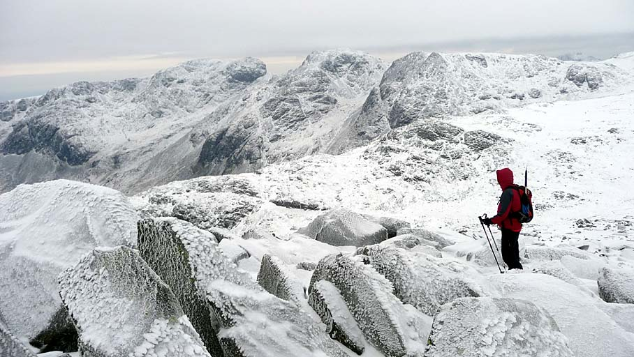 The Scafells from Bowfell in Snow